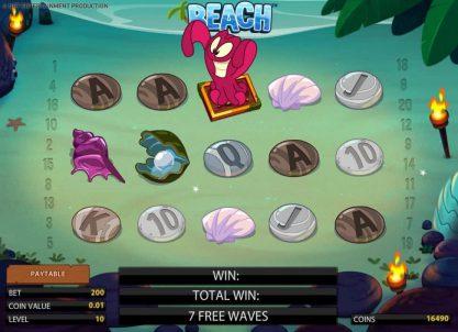 Осьминог - дикий символ в бесплатных спинах игрового автомата Beach