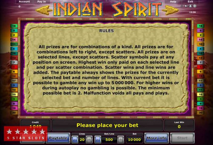 Правила слота Indian Spirit