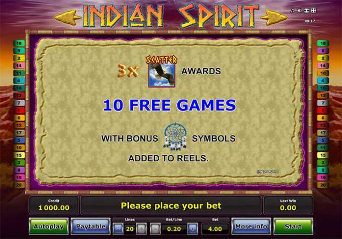 Бонусные вращения слота Indian Spirit