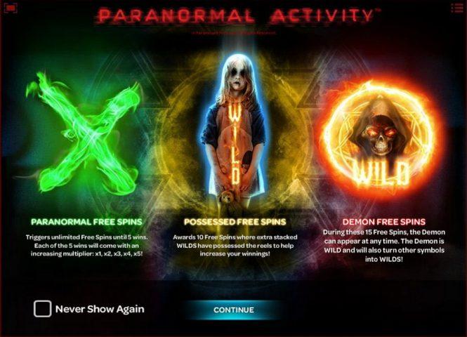 Бонусные символы слота Paranormal Activity