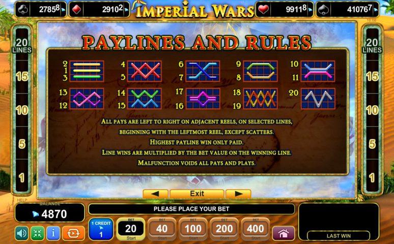 Линии выплат слота Imperial Wars