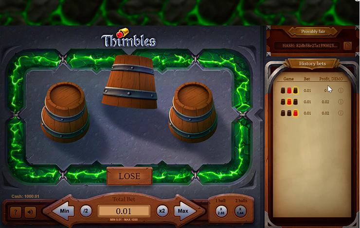 Бесплатный игровой автомат Thimbles