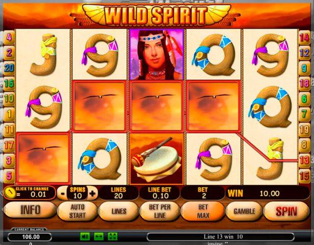 Игровой аппарат на деньги Wild Spirit в казино Вулкан