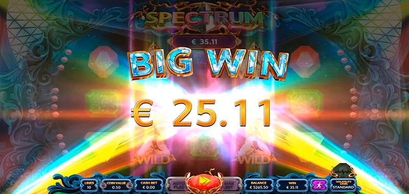 Большой выигрыш в слоте Spektrum на сайте казино Joycasino