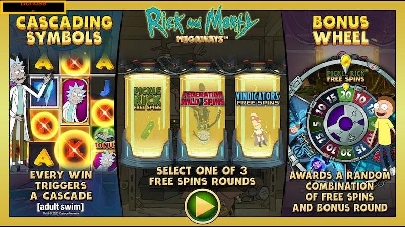 Бонусы игрового автомата Rick and Morty