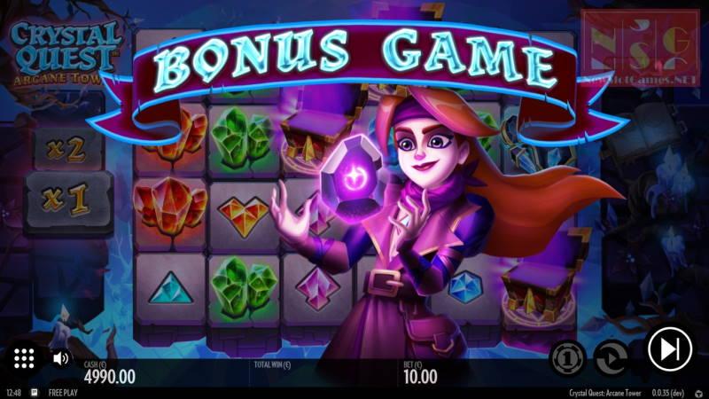 Бонусная игра в слоте Crystal Quest: Arcane Tower в казино Вулкан 777